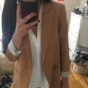 Forever 21 Tan Blazer with Striped Cuff